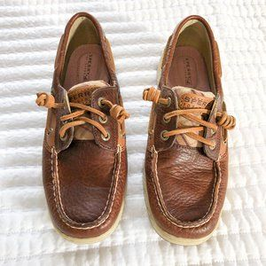 NWOT Sperry Topsider Brown Leather & Plaid Loafers